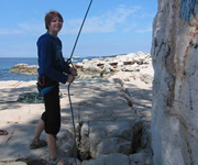 Rock climbing in Rovinj near the sea